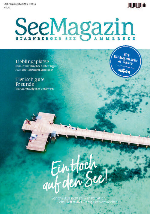 Cover of the SeeMagazin 2019 with a drone picture of the Starnberger See