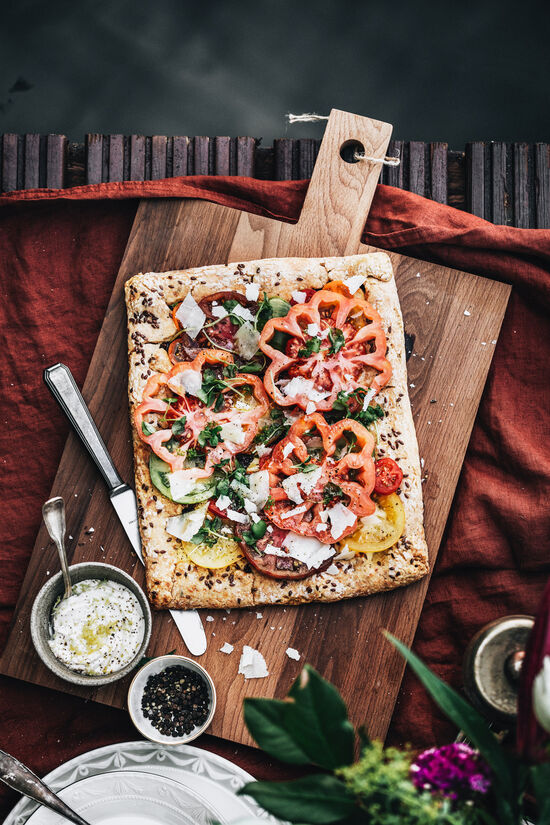 Tomato galette with onion confit