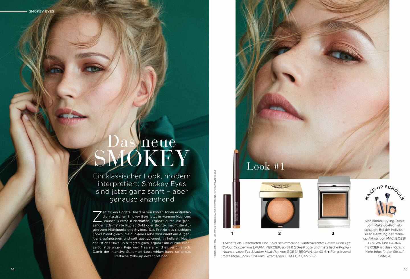 Double page from the LUDWIG BECK beauty magazine Autumn/Winter 2019 with products for smokey eyes