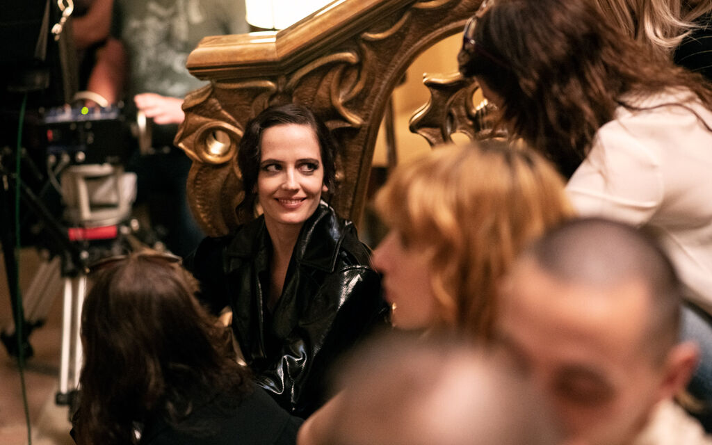 Eva Green with black lacquer coat during the shooting of the commercial for the Jaguar I-PACE