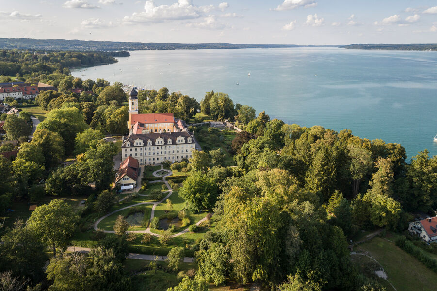 Aerial view of the Bernried monastery with Starnberger See in the background