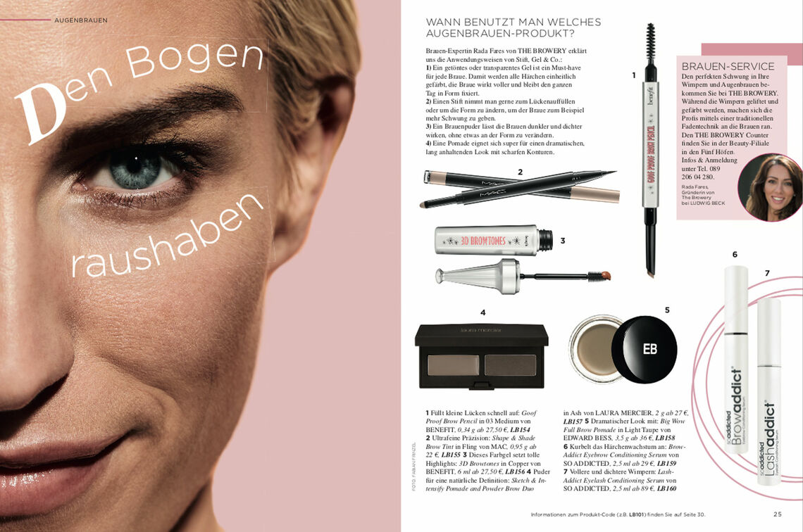 Screenshot of a double page of the LUDWIG BECK Beauty Magazine Spring/Summer 2019