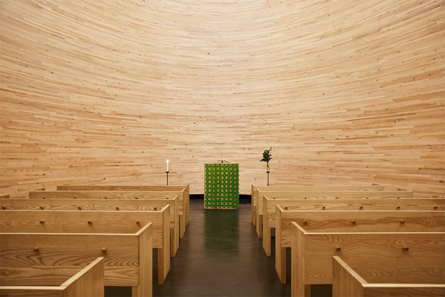 The interior of the Kamppi Chapel in finland